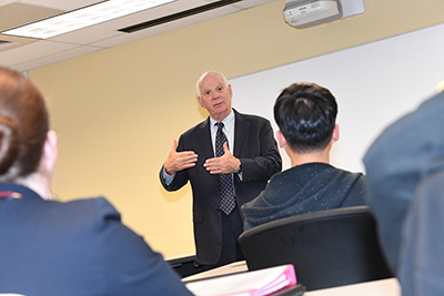 Senator Ben Cardin speaks to a UMBC cybersecurity class