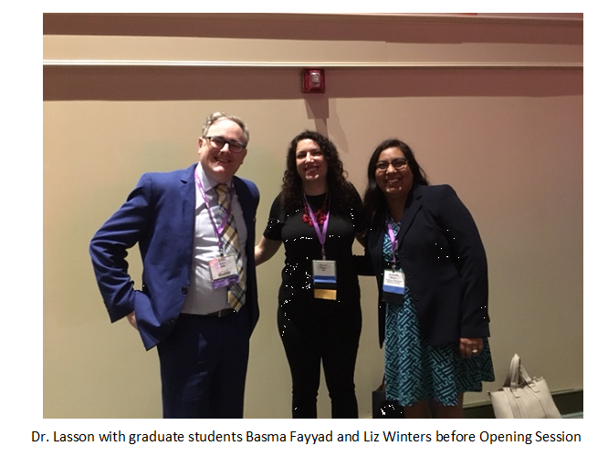 SOIP Conference | Picture of Dr. Lasson, UMBC Program Director, and two students, Basma Fayyad and Liz Winters